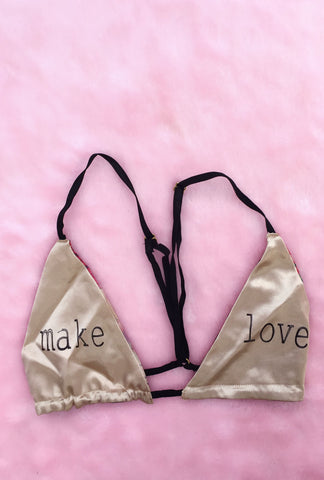 Make Love Satin Bralette- Large