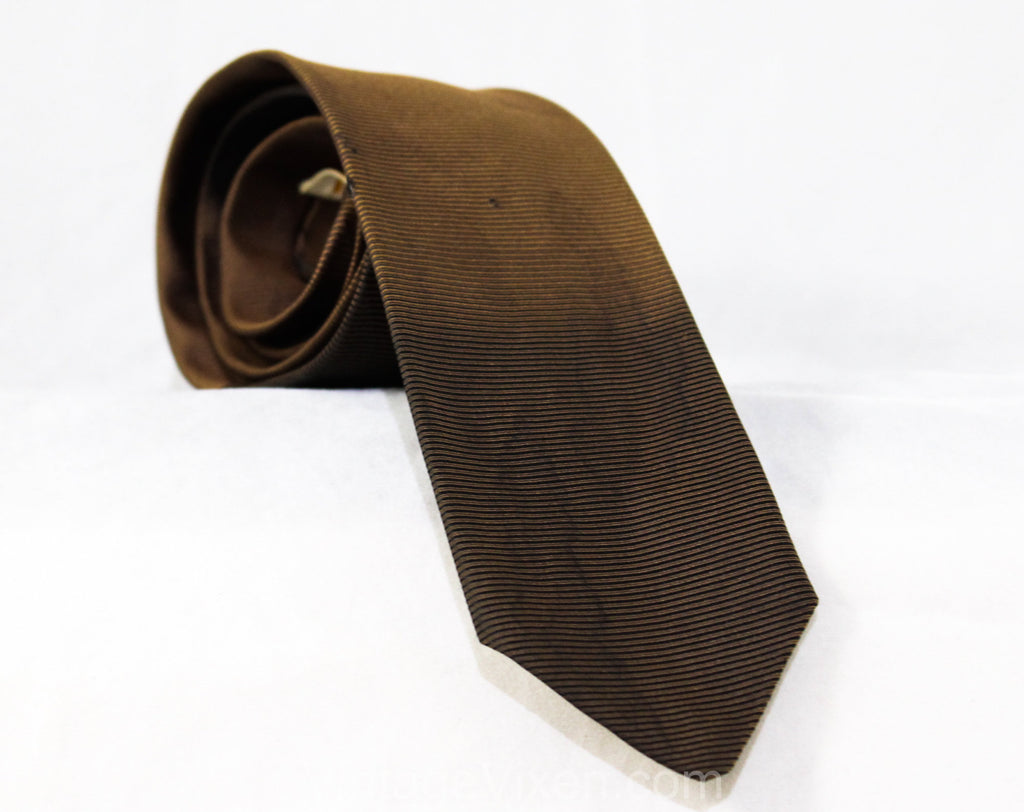 Men's 50s Skinny Tie - As Is Stage Costume Accessory - Brown Silk 1950s Necktie with Three Blue Stars - Ribbed Ombre Fades To Black