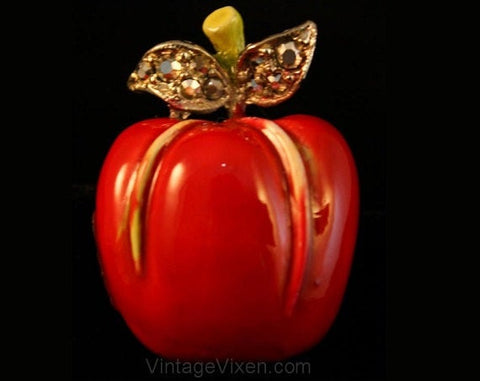 Red Apple Pin by 'ART' - Brooch - Fall - Red - Metal - 1960s - Fruit - Novelty Pin - Giftable - 35597-1