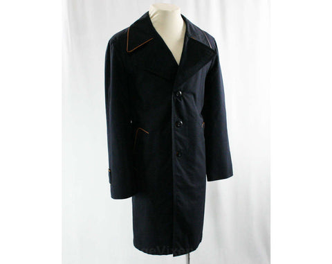 1960s Trench Style Men's Coat - Size Medium to Large - Navy Dark Blue Cotton Canvas & Fine Spanish Leather - Induyco - Chest 44 - 43066