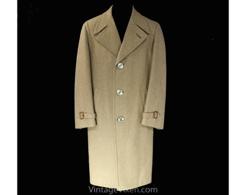 Mens Medium Large Overcoat - Classic Men's Camel Tan Wool Coat - Handsome Trench Style Outerwear with Leather Buckles - 50s Look - Chest 44