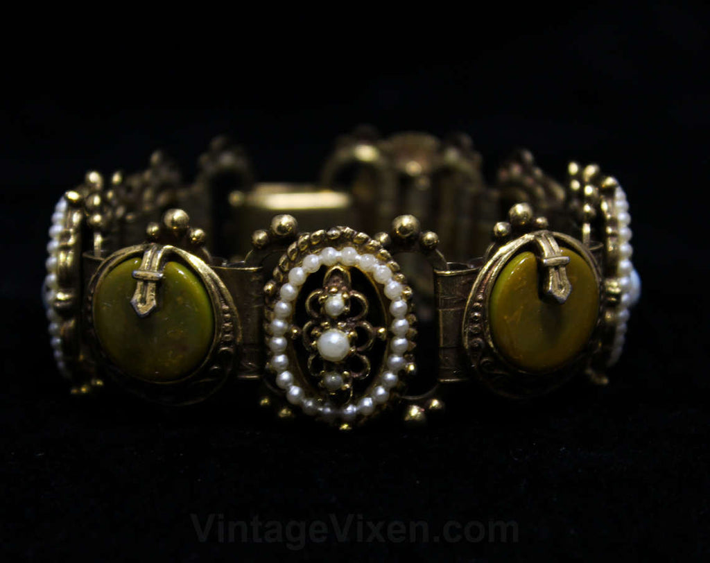Ornate Panel Bracelet - 1950s Russian Style Crests - Mustard Plastic & Metal Crescents - Antique Style 50s 60s - Blue Gold Brown - 46055