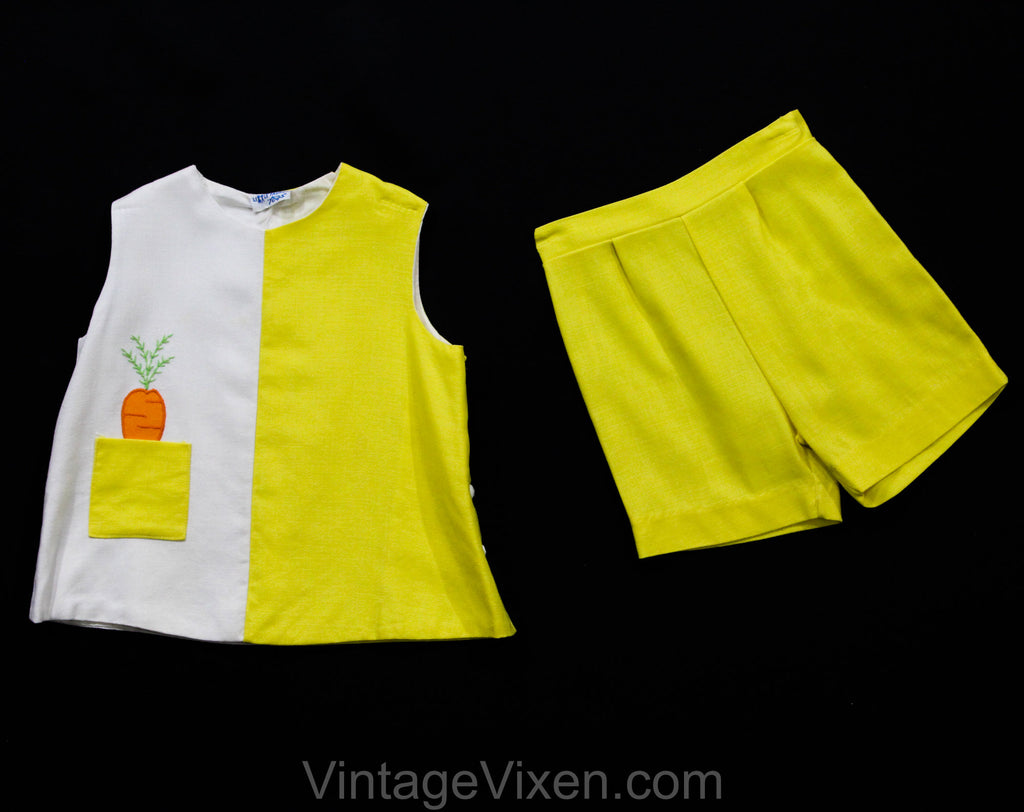 2T Toddler's Play Outfit - 1960s Yellow Girl's Shorts Set with Novelty Carrot in Pocket - Size 24 Months Girl Child's Summer Sleeveless