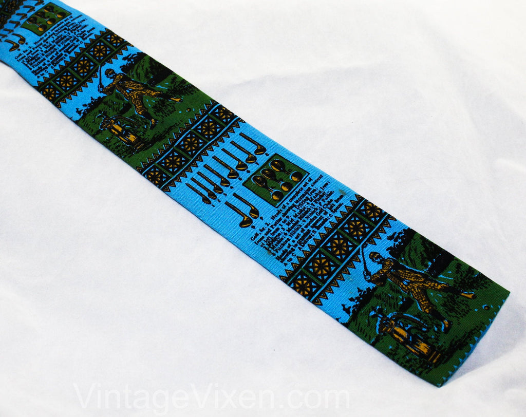 1960s Square End Tie - Antique Golf Theme Mens 60s Novelty Print Necktie by Rooster Ties - Blue & Green - Golfing Scenes Clubs Balls Tees