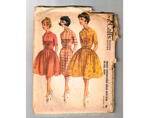 1960s Shirtwaist Dress Sewing Pattern - Full or Straight Skirt - Dated 1962 Unused Complete - Bust 32 McCalls 6350 - Misses Size XS 60s