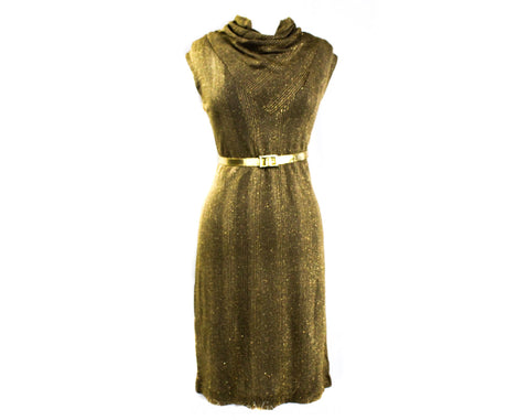 Size 12 1960s Gold Dress - Sparkling Metallic Lurex 60s Cocktail - Gorgeous Large Curvy Knit - Sleeveless Cowl Neck with Belt - Bust 38.5