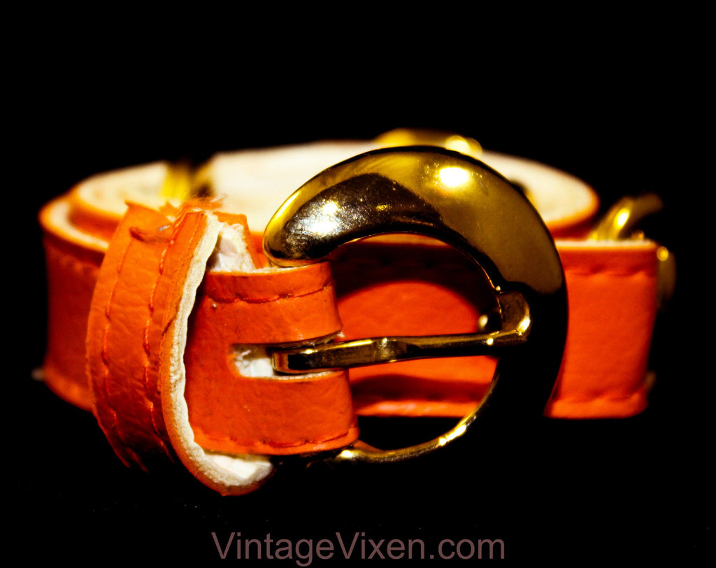 Medium 1960s Belt - Tangy Orange Vinyl Belt with Brass Buckle & Horse Bits - Size 8 to 12 Mod 60s Belt - Chic Spring Summer Resort Style