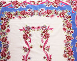 1940s Roses Tablecloth - Blue Pink White Feminine Cotton 40s 50s Table Cloth - Sweet Ribbon Garlands Flowers - Large Rectangle Border Print