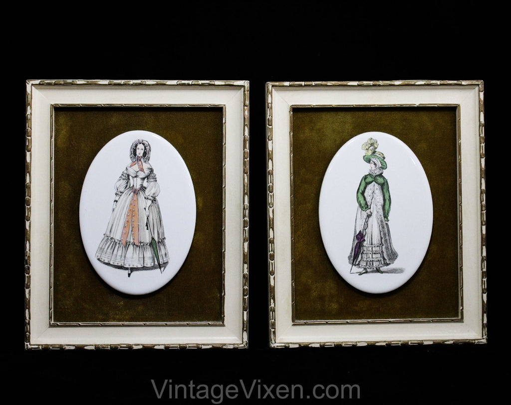 Pair Framed Pictures - Victorian Ladies Fashion Illustration - 1800s Regency Dress & 1830s Walking Dress - Antique Repro Prints on Porcelain