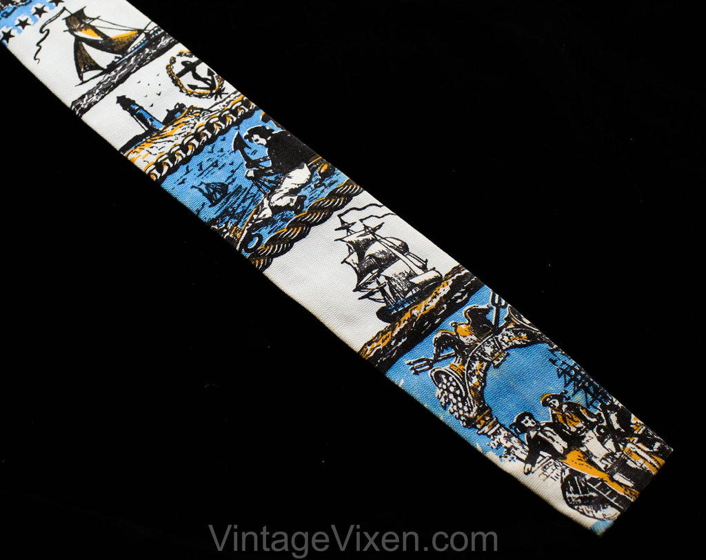 1960s Square End Tie - Antique Sailors Nautical Theme Mens 60s Novelty Print Necktie by Rooster - Blue Orange Cotton - Victorian Ships