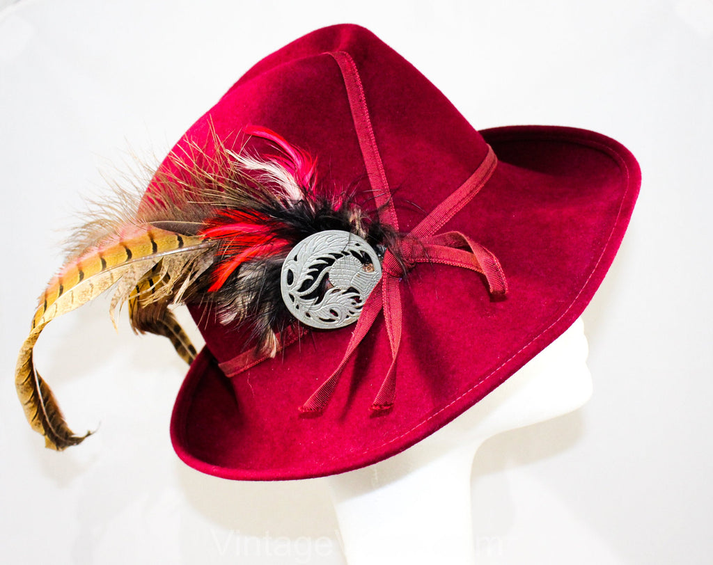 Gorgeous 1960s Merlot Felt Hat with Pheasant Feathers & Metal Thistle Medallion - Dashing 60s Millinery - Autumn Purple Brown Red Beauty