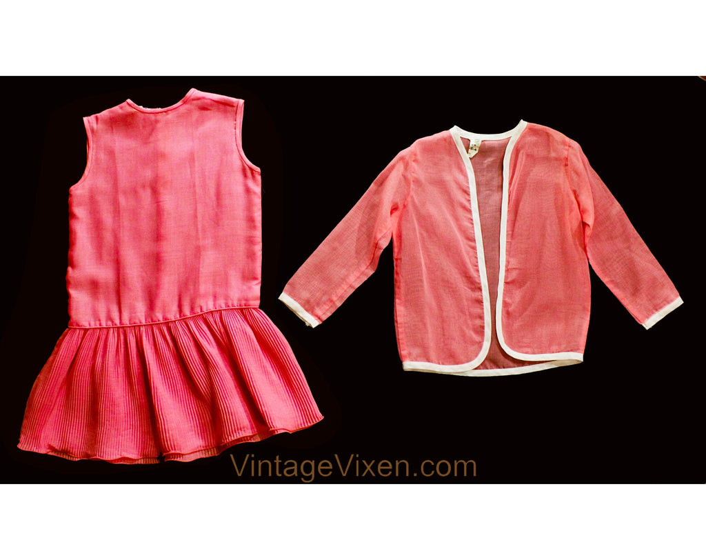 Girls Size 8 to 10 Flapper Style Dress - Mod 1960s Child's Pink Summer Sheath Pleated Skirt & Sheer Jacket - 60s Mini Go-Go Girl - Chest 30