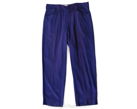 Men's Medium Rockabilly Pants - 1940s Indigo Blue Purple Gabardine Western Trouser - 40s Country Band Musician Stage Wear - Waist 33 x 28.75