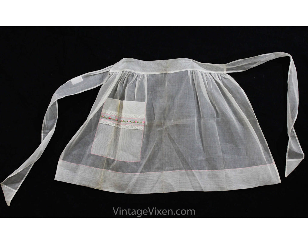 1950s Rosebud Apron - Sheer White Cotton Half-Apron with Single Pocket - Size Large XL - Sweet Tea Party Style 50s Cottage Style - Waist 34