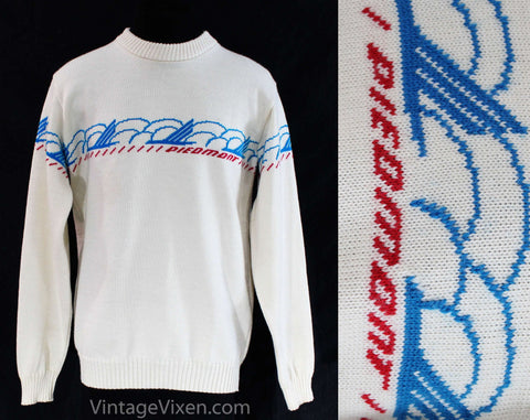 Mens Small Ski Sweater - Retro 70s Piedmont Airlines Men's Pullover - 1970s White Red Blue Wool Knit - Long Sleeve Winter Top - Chest 38