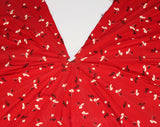 30s Novelty Print Fabric Scraps - 1930s Scarlet Red Golf Theme Rayon - Golfing Tee Sports Scenes - Panels From An Authentic 30's Umbrella
