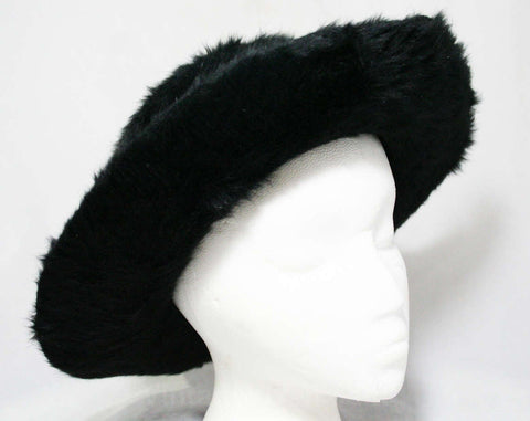 1910s Black Furry Angora Felt Hat - Wide Brimmed Rare Hat - Antique Edwardian Titanic Era Millinery - Fur Fiber Silk Satin Ribbon & Lining