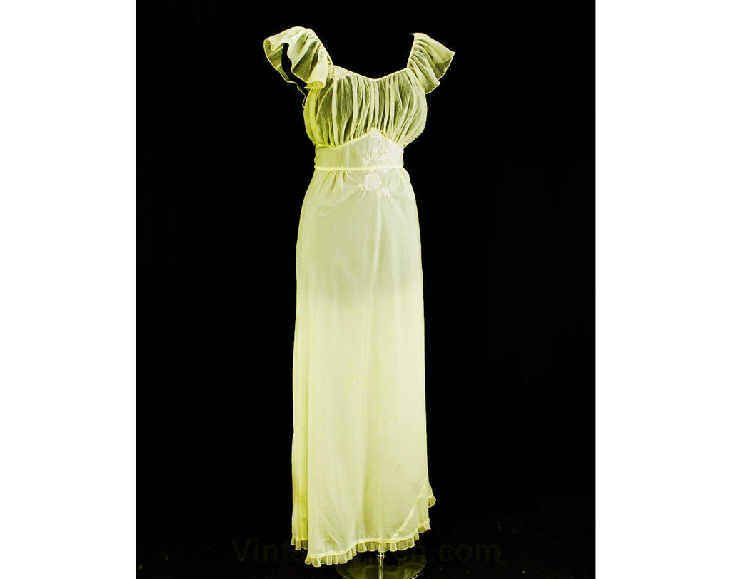 Large 1950s Nightgown - Pretty Sheer Yellow Pleated Lingerie - Filmy Ruffles - Elegant Lace - 50s Trousseau Chic - Size 14 Bust 42 Waist 34