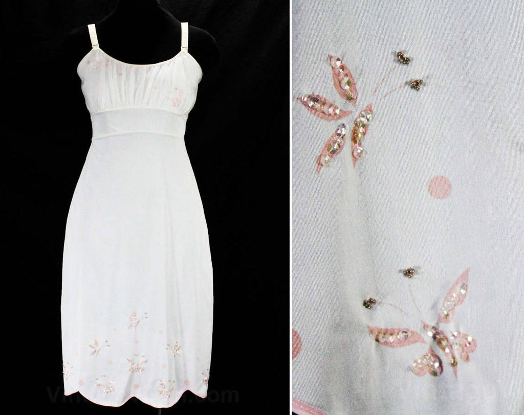 Fancy 50s Full Slip with Butterflies - Size 6 White 1950s Tricot with Pink Butterfly Print - Sequins Beads Scalloped Hem - Deadstock - 49400