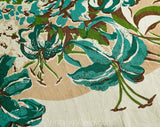1940s Tiger Lilies Tablecloth - Turquoise Blue & Orange Tropical Floral Print Cotton 40s 50s Table Cloth - Roses Gladiolus Large Rectangle