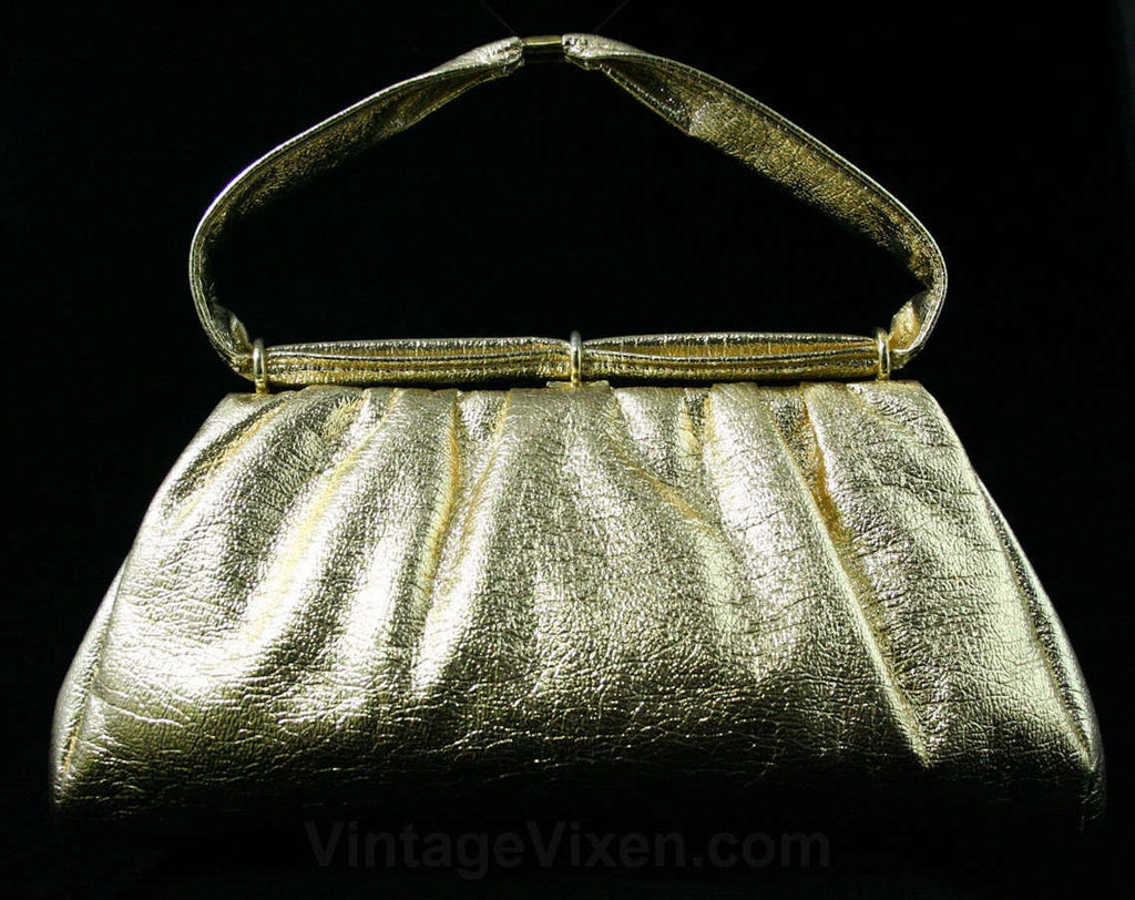 Glam 1960s Metallic Gold Purse - 60s Handbag - Faux Shiny Leather - 60s Purse - Mid Size - Glamour - Metal Rings - Evening - Formal - 43324