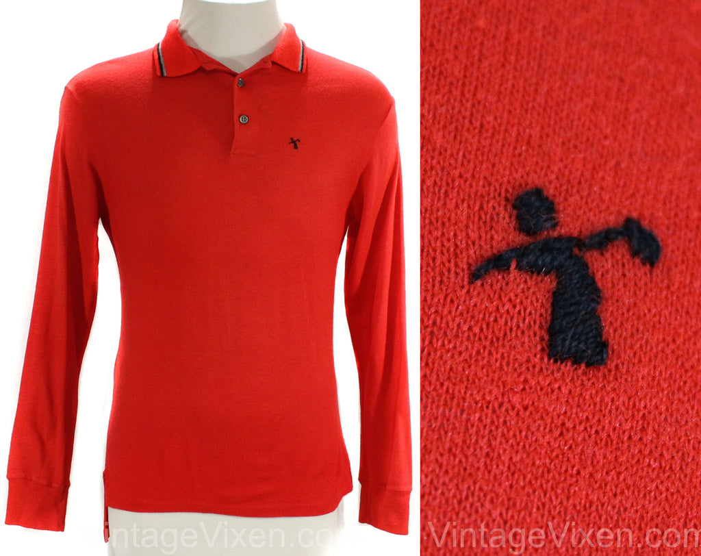 Men's XS 1960s Golf Shirt - PGA Golfing Label - Bright Red Wool Jersey Knit Long Sleeved Mens Top - 60s Preppy Golfer's Logo - Chest 36