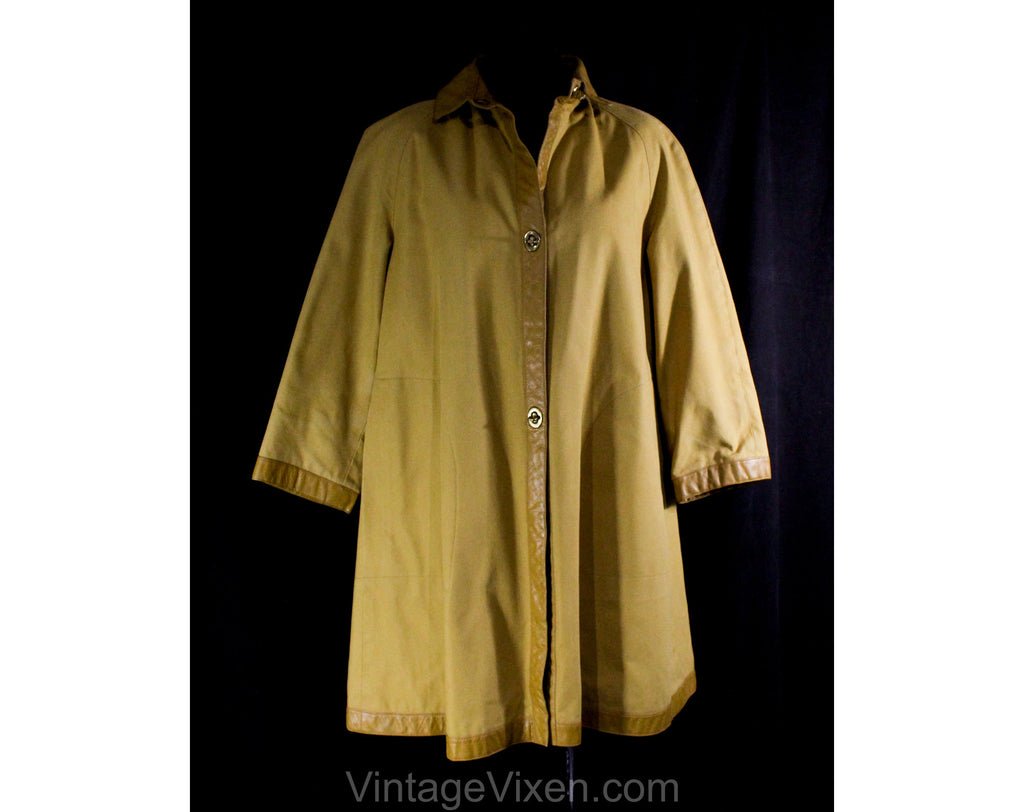 Large Bonnie Cashin 1960s Canvas Coat with Tan Leather - 60s Designer Fall Autumn Overcoat - Mustard Gold Cotton - Big Pockets - Bust 42