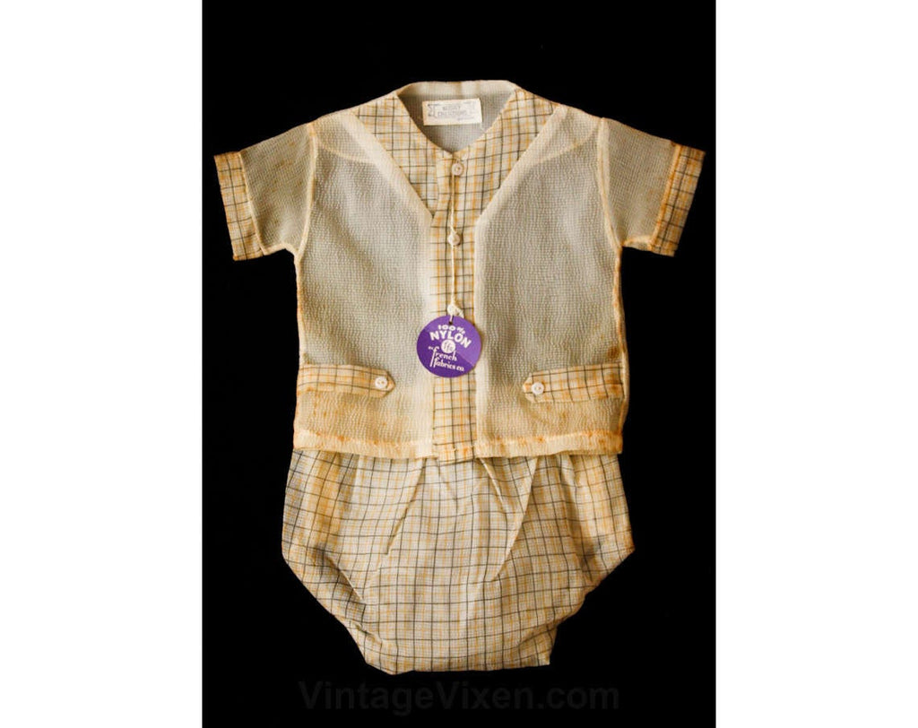 Kitsch 1940s Boy's Sheer Yellow Summer Shirt & Diaper Cover - Size 6 to 9 Months - Deadstock - 40s Baby Clothes - Summer - 37263-1