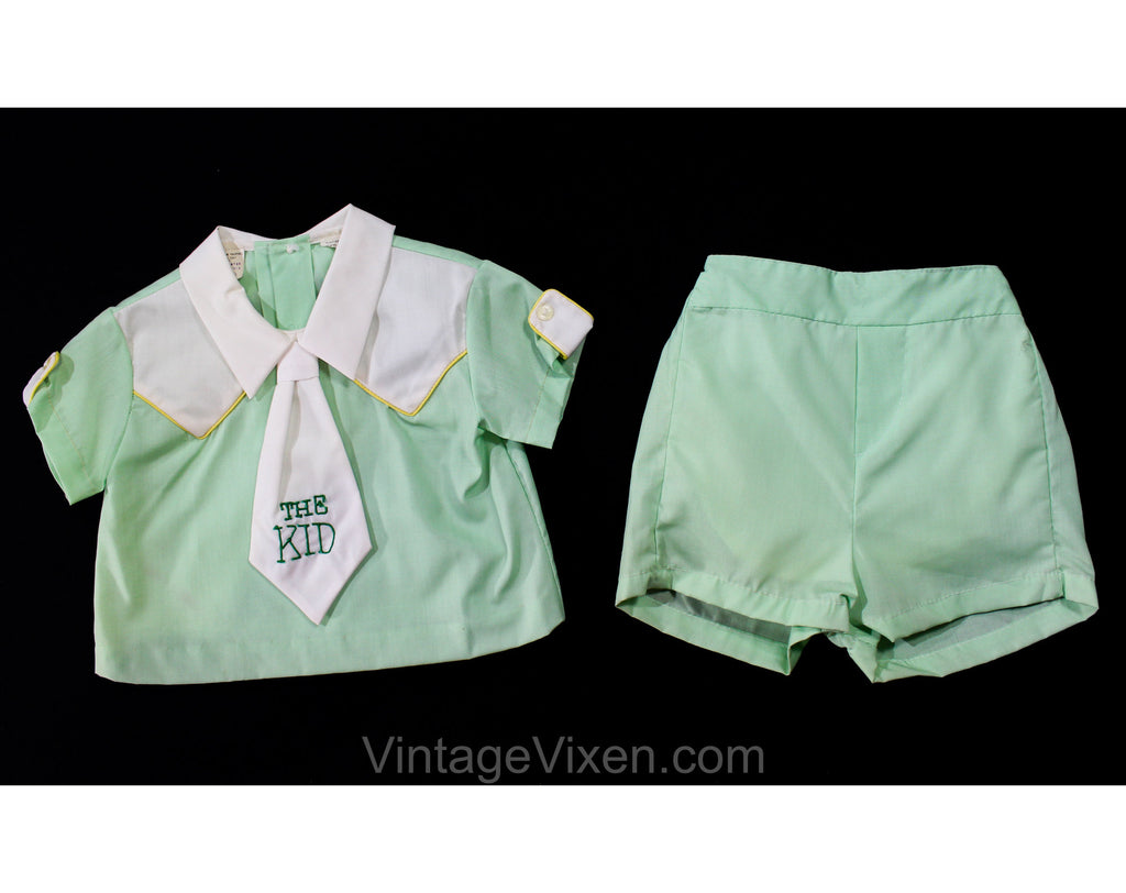 "1960s Toddler Boy's Summer Shirt & Shorts Set with Attached Tie - Size 18 Months Quirky Play Outfit for ""The Kid"" - 60s Mint Green Cotton"