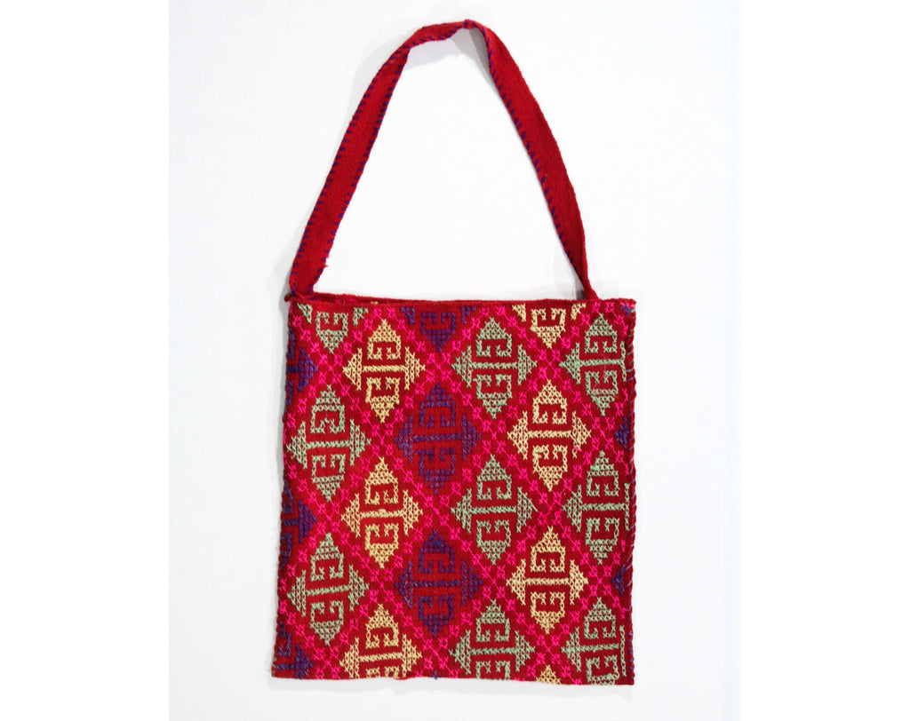 1960s Red Shoulder Bag - Artisan Made Hand Woven Wool Purse - Bohemian 60s Tote with Cross Stitch Pattern - Mint Green Pink Yellow Purple