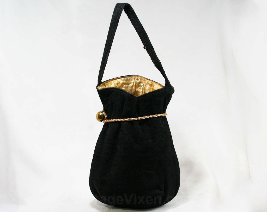 Deco 1930s Black Suede Bag - 30s Purse with Metallic Gold Cord & Lining - Pouch Style Handbag - Suede Is Crocking Color - Strap As Is