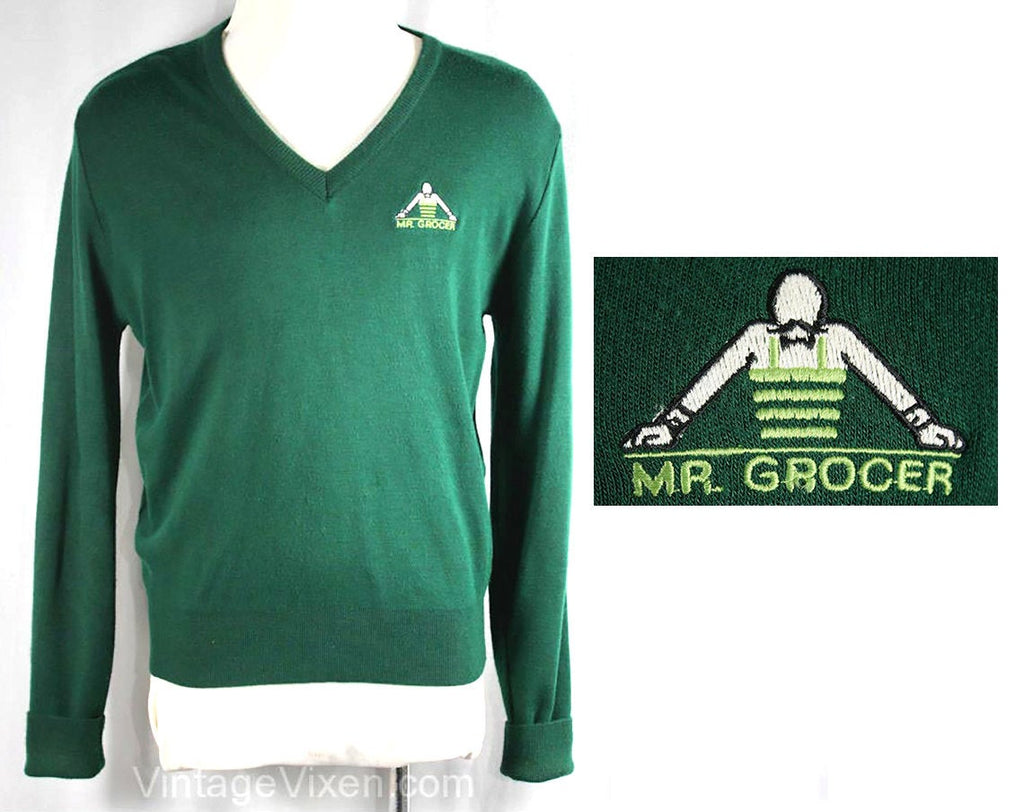 Men's Large Sweater - Vintage 1970s Mr. Grocer V-Neck Top - Mens Retro 70s V Neck Pullover - Hunter Green Grocery Store - Chest 46 - 35743