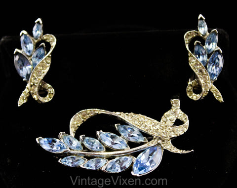 Sparkling Blue Rhinestone Brooch & Earrings - Spring 50s Jewelry - Elegant 1950s Leaves Demi Parure - Leafy Lapel Pin - Wedgwood and Silver