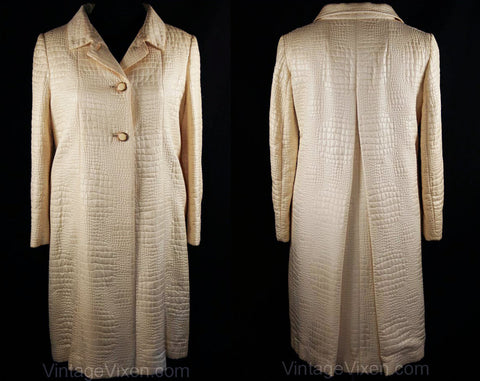 Size Large 1950s Ivory Embossed Reptile Coat with Miami Beach Label - Size 14 Glam Tailored Spring Alligator Overcoat - Posh 50s 60s Jacket