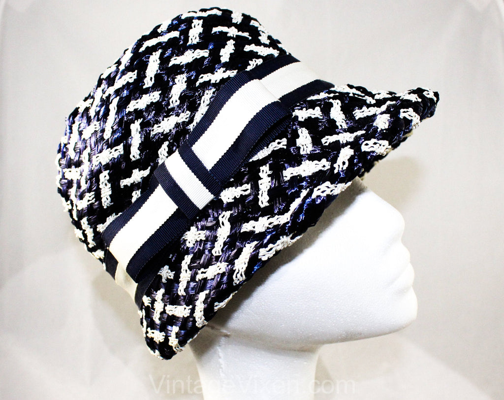 Sassy 60s Navy & White Hat - Mod Striped Bucket Style 60s Summer Cloche with Ribbon Bow - Sharp Convertible Brim - Plaid Look Weave