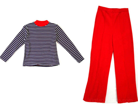 Girl's Size 6X Pants Outfit - 1970s Striped Shirt & Red Pant - 70s Girls Long Sleeved Top - TV Sitcom Style - Stretchorama - NOS Deadstock