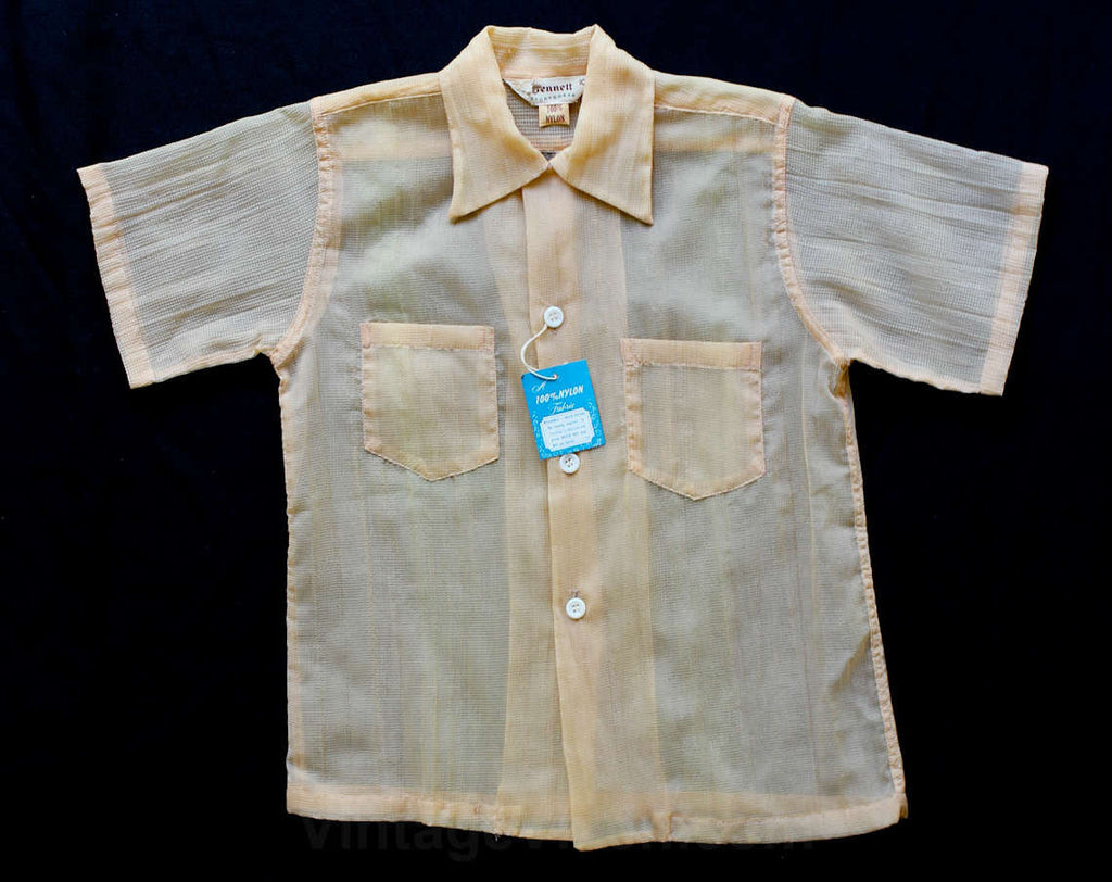 Boy's Size 6 Shirt - 1940s Taupe Sheer Nylon Seersucker Top - Boys 40s Deadstock - Summer 1940's Short Sleeve Shirt - NWT - NOS - 29778-1