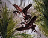 Cotton Fabric Scrap - 35 x 18.25 Inches - 1950s Wild Hunting Birds in Hand Stitched Padded Trapunto - 50s Forest Novelty Animal Scene
