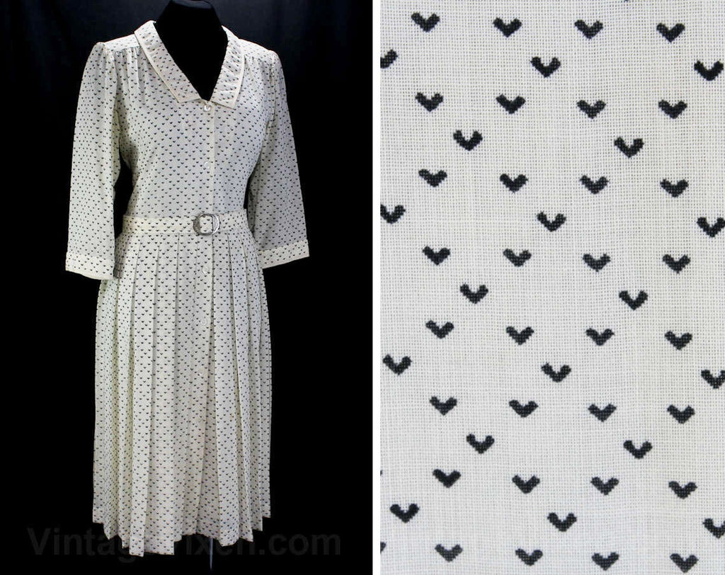 Large 20s Style Designer Dress by Ted Lapidus - Size 12 1980s Retro with 1920s Look - Black & Ivory Deco Chevron Wool - Shirtwaist - Bust 38