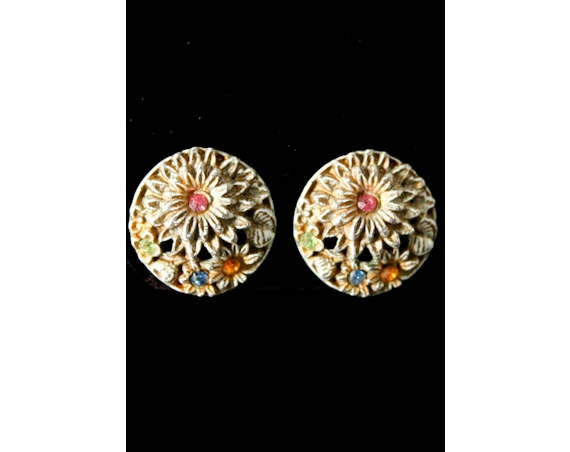Antiqued White Floral Earrings with Pastel Rhinestones - 60s Spring White Enamel - 1960s - Circles - Clip On Button Earrings - 40166-1
