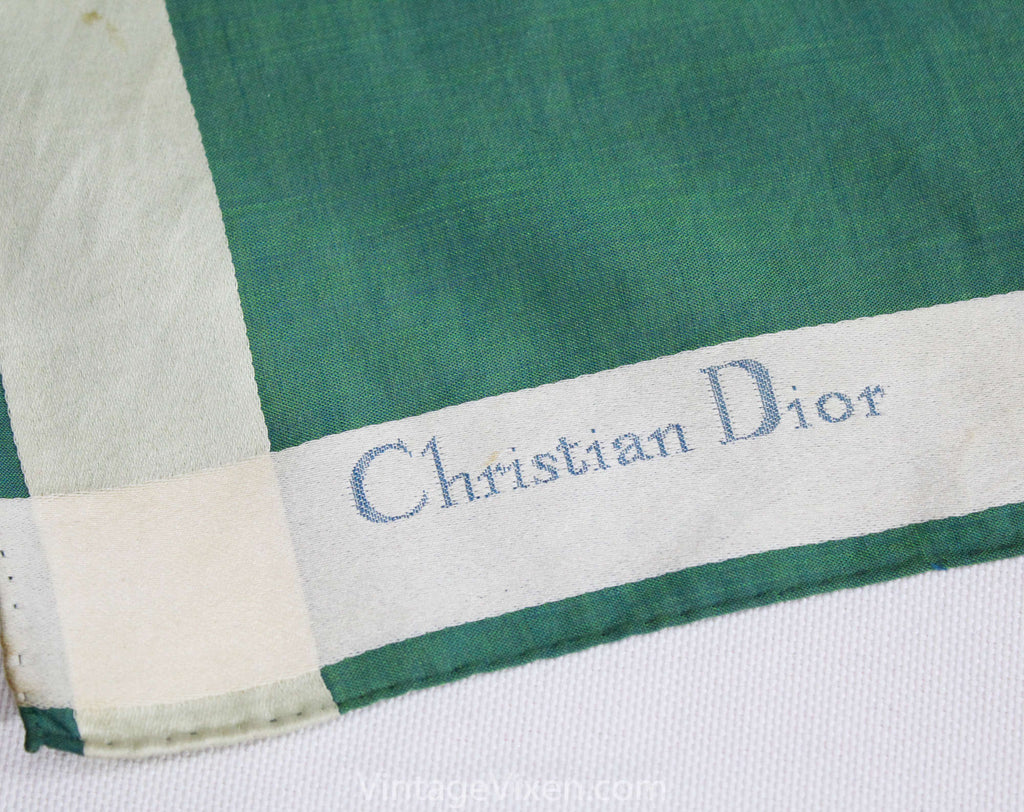 Christian Dior Telegram Scarf - Bottle Green Cotton Chameleon Cloth - Sending You Friendship Affection Tenderness - Hand Rolled Hems