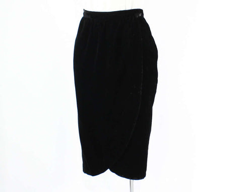 Size 10 Black Skirt - Plush Velvet Formal Wrap Style Skirt - Designer Lillie Rubin - Tulip Hem - Medium - 1980s 1990s - Waist 30 - 45872