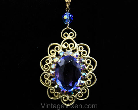 Victorian Revival Pendant Necklace - Bold Blue Antique Style Gold Hue Metal Medallion - Faceted Glass Rhinestones & Filigree - 1970s Retro