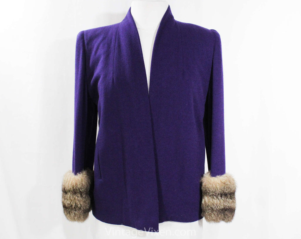 Size 10 1930s Purple Swing Jacket with Fur Cuffs - 30s 40s Movie Star Style Topper Coat with Pockets - National Recovery Board - Bust 38