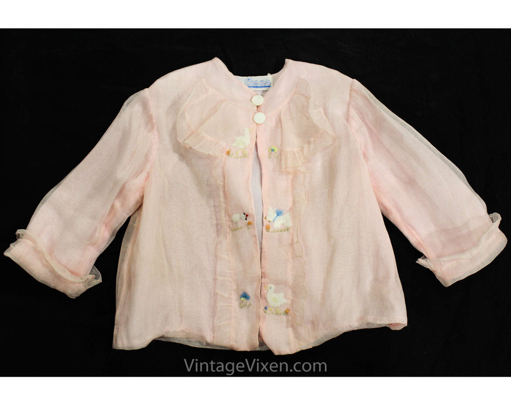 Baby Girl's 1930s Jacket - Size 3 to 6 Months - Authentic 30s Infant Child's Pink Organdy Top with Baby Animals Embroidery - Chest 18
