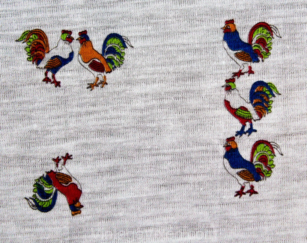 Chickens Roosters Novelty Print Jersey Knit Fabric - 2 Yards x 56 Inches - Thin Pale Blue Red Orange Spring Green - Cute Farm Animal 60s 70s