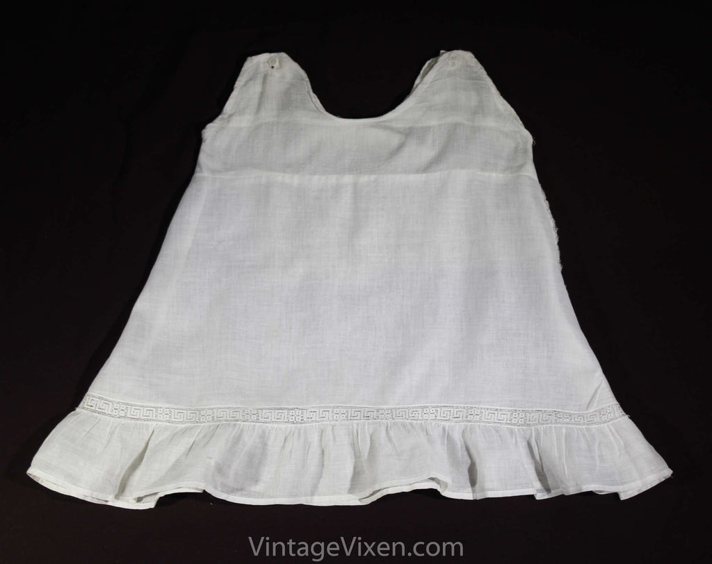 Antique Baby Chemise - Fine Cotton White Toddler's Slip with Greek Key Lace - Size 2T 18-24 Months - Girls Summer 1910s 1920s Under Dress