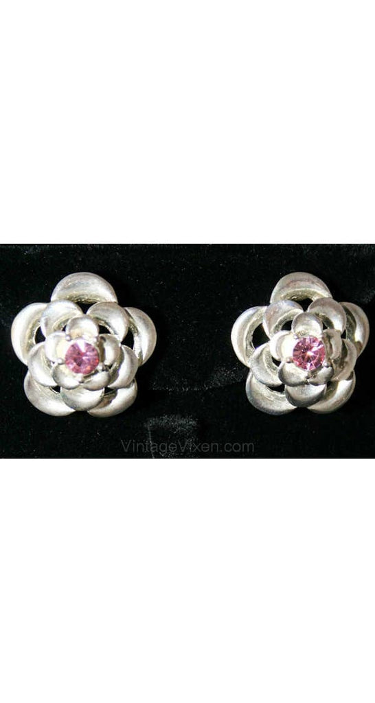 Pretty 50s Silver & Pink Flower Earrings - Spring Metal Floral 1950s Clips - Nice Quality - Sweet and Sophisticated - Clip On - 38443-1