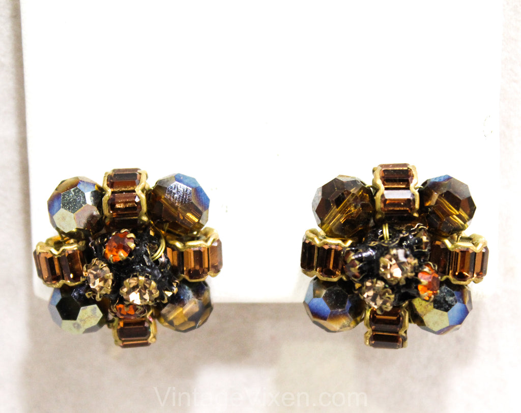 1950s Root Beer Rhinestone Earrings - Fall Brown 50s 60s Clips by Vogue - Gorgeous Hand Wired Faceted Glass & Beads - Gold Metal - 50377