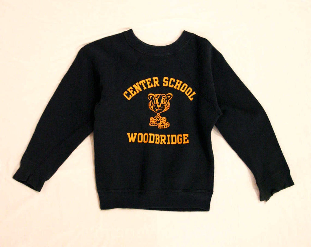 1960s Boy's Elementary School Vintage Sweatshirt - Child Size 6 to 8 - Classic Retro Logo - Cotton Knit Sweater - Center School Woodbridge